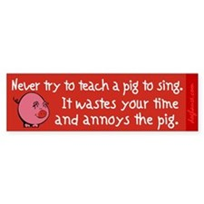 Singing Pig Bumper Car Sticker