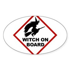 Witch on Board Oval Decal