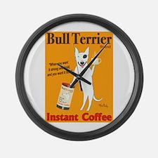 Bull Terrier Coffee Large Wall Clock