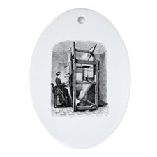 Weaver - Woman at Weaving Loo Oval Ornament