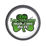 Leprechauns Make Me Do It Shamrock Wall Clock
