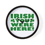 Irish You Were Here Shamrock Wall Clock