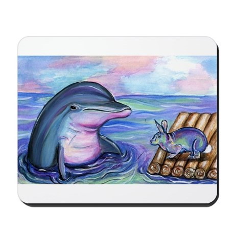Dolphin Bunny Rabbit Easter Mousepad