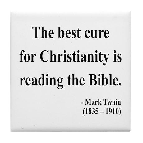 Mark Twain Text 20 Tile Coaster