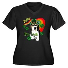 St. Pattys Beagle Women's Plus Size V-Neck Dark T-