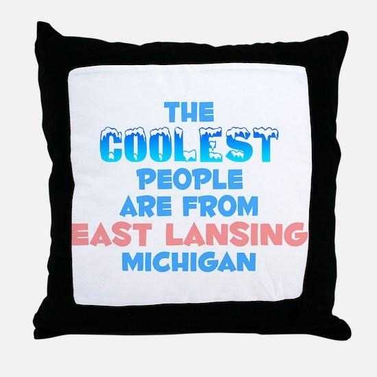 Coolest: East Lansing, MI Throw Pillow