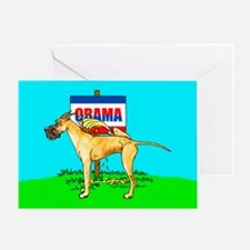 Brindle Dane Pi$$ on Obama Greeting Card