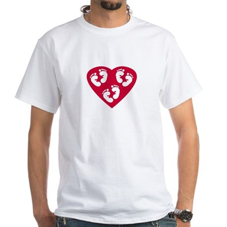 Love Heart Triplets White T-Shirt