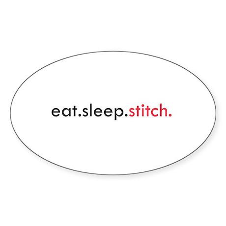 Eat Sleep Stitch Oval Sticker