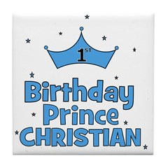 Christian 1st Birthday Prince Tile Coaster
