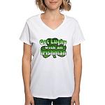 Get Lucky with an Irishman Women's V-Neck T-Shirt