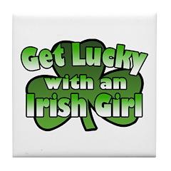 Get Lucky with an Irish Girl Tile Coaster