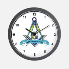 Masonic Faith, Hope, Charity Wall Clock