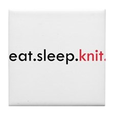 Eat Sleep Knit Tile Coaster