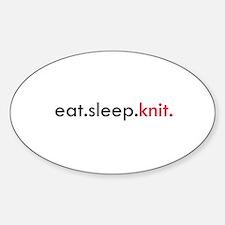 Eat Sleep Knit Oval Decal