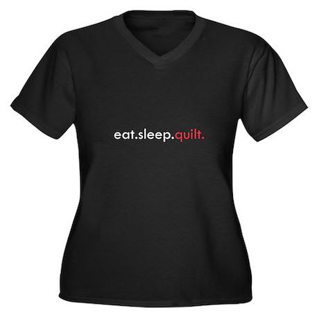 Eat Sleep Quilt Women's Plus Size V-Neck Dark T-Sh