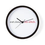 Eat Sleep Cross Stitch Wall Clock