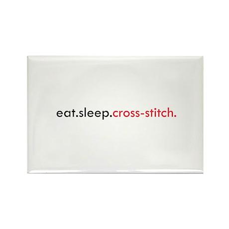 Eat Sleep Cross Stitch Rectangle Magnet (100 pack)