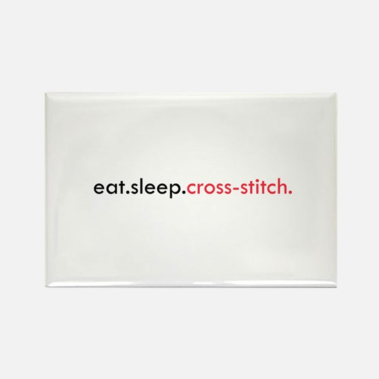 Eat Sleep Cross Stitch Rectangle Magnet