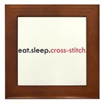 Eat Sleep Cross Stitch Framed Tile