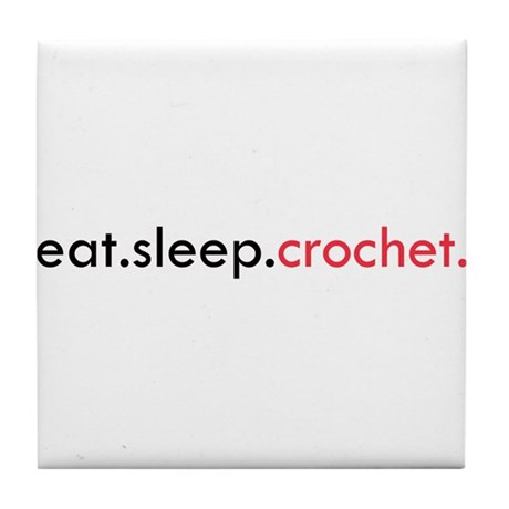 Eat Sleep Crochet Tile Coaster