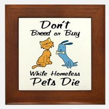 Don't Breed or Buy Cat&Dog Framed Tile