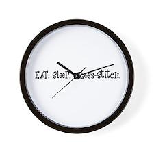 Eat Sleep Cross-Stitch Wall Clock