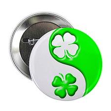 """Yin Yang Clovers 1 2.25"""" Button"""