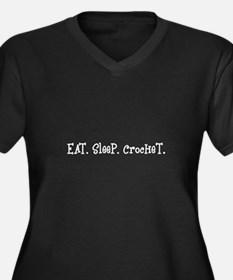 Eat Sleep Crochet Women's Plus Size V-Neck Dark T-