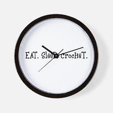 Eat Sleep Crochet Wall Clock