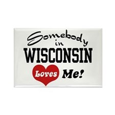 Somebody in Wisconsin Loves Me Rectangle Magnet