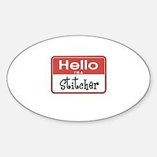 Hello I'm A Stitcher Oval Decal