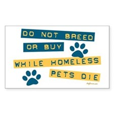 Do Not Breed or Buy Labels Rectangle Decal