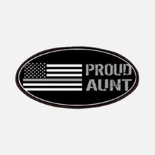 U.S. Flag Grey Line: Proud Aunt (Black) Patch