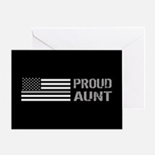 U.S. Flag Grey Line: Proud Aunt (Bla Greeting Card