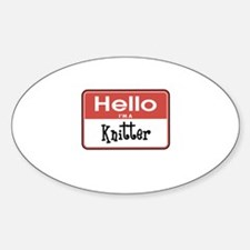 Hello I'm A Knitter Oval Decal