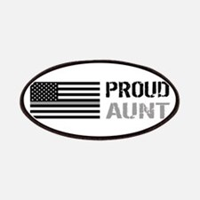 U.S. Flag Grey Line: Proud Aunt (White) Patch