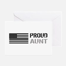 U.S. Flag Grey Line: Proud Aunt (Whi Greeting Card