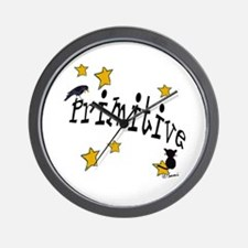 "Name ""Primitive"",Stars, Crow,& Cat Wall Clock"