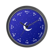 Stars & Moon Wall Clock with Numbers in French