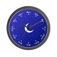 Stars & Moon Wall Clock with Spanish Numbers