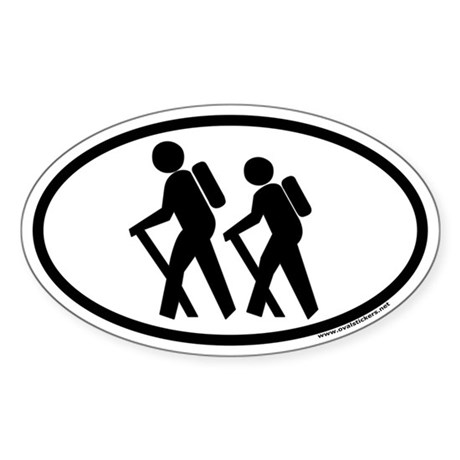 Hiking Euro Style Oval Sticker