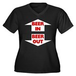 Beer In Beer Out Women's Plus Size V-Neck Dark T-S
