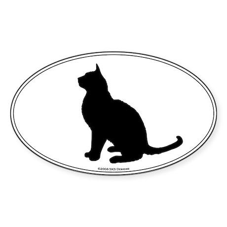 Burmese Silhouette Oval Sticker