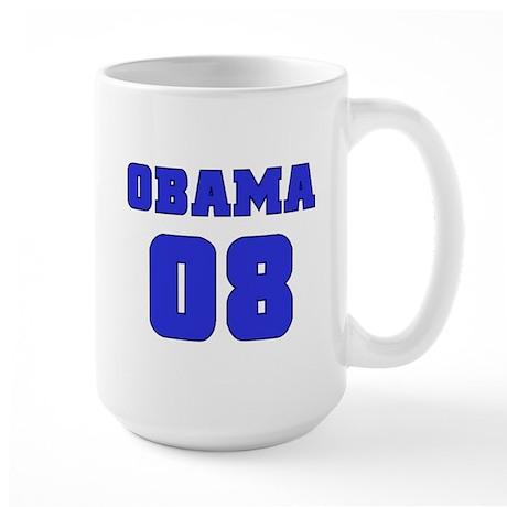 Blue Varsity Obama '08 Large Mug