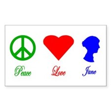 Peace. Love. Jane. Rectangle Decal