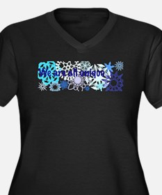 Snowflakes Collage Women's Plus Size V-Neck Dark T