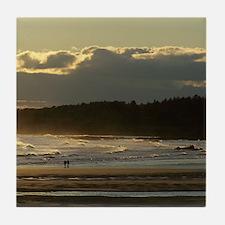 Lovers Walk On The Beach Tile Coaster