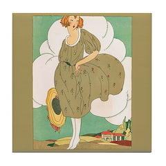 Vintage Ad Illustration Tile Drink Coaster