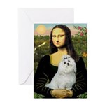 Mona Lisa / Maltese Greeting Card